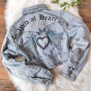Vintage Z Cavaricci Denim Jean Jacket Distressed